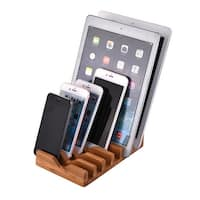 6 Plots Bamboo Wood Multi Device Charging Station Dock Organizer Stand Holder