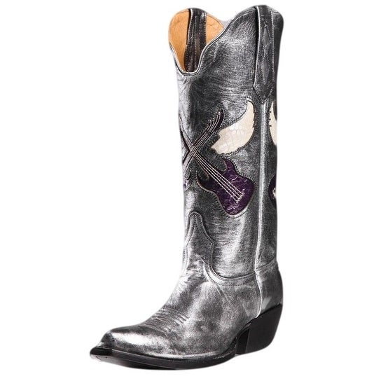 Johnny Ringo Western Boots Womens Cowboy Box Calf Silver