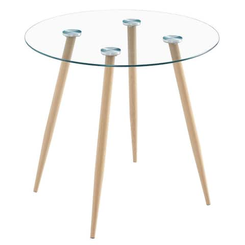 Round Tempered Glass Dining Table with Tapered Legs
