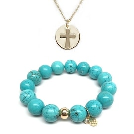 Turquoise Magnesite Bracelet & Cross Disc Gold Charm Necklace Set