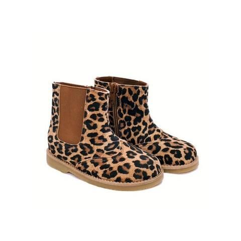 Foxpaws Little Girls Leopard Print Low Bootie Shoes
