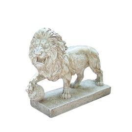 "10.5"" Weathered Finish Ferocious Lion Outdoor Patio Garden Statue"