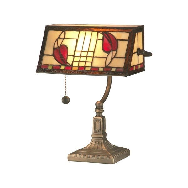 Dale Tiffany TA11010 Henderson Bankers Accent Lamp with 1 Light - ANTIQUE BRASS - n/a