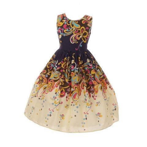 230f795d3 Little Girls Navy Tan Floral Print Cotton Tea-Length Flower Girl Dress 2-6