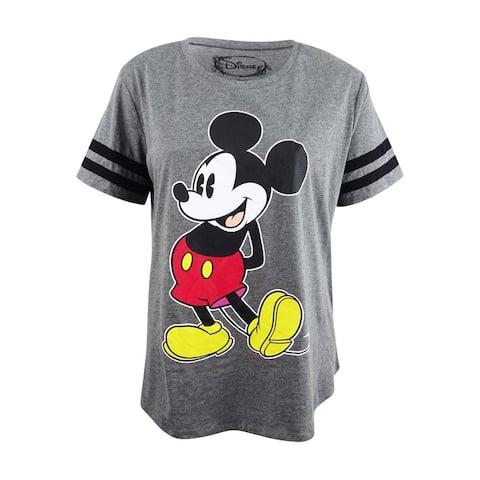 Hybrid Women's Plus Size Mickey Mouse Graphic T-Shirt (2X, Charcoal/Black) - Charcoal/Black - 2X