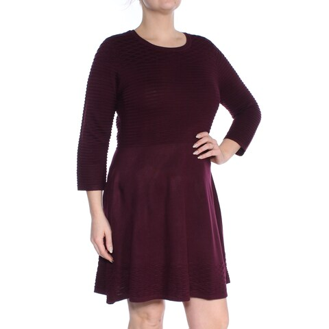 JESSICA HOWARD Womens Maroon Sweater 3/4 Sleeve Jewel Neck Above The Knee Fit + Flare Dress Petites Size: L