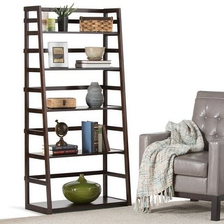 "WYNDENHALL Normandy SOLID WOOD 63 inch x 30 inch Rustic Ladder Shelf Bookcase - 30""w x 15.9""d x 63""h"