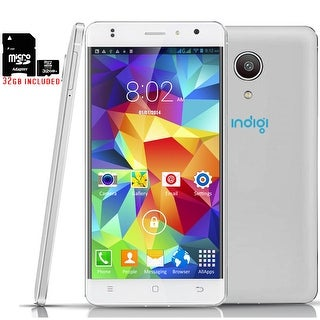 """Indigi 4G LTE SmartPhone GSM Unlocked 4Core 5"""" Android 6.0 Google Play + 32gb Included - White"""