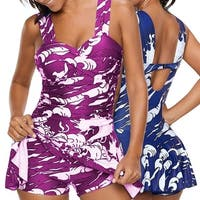 Plus Size Ruched Tankini Swim Dress and Short in Bold Prints