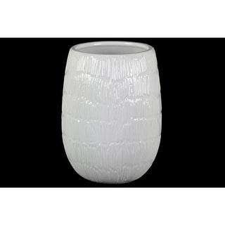 Round Shaped Ceramic Vase with Embossed Lines Design, Large, Glossy White