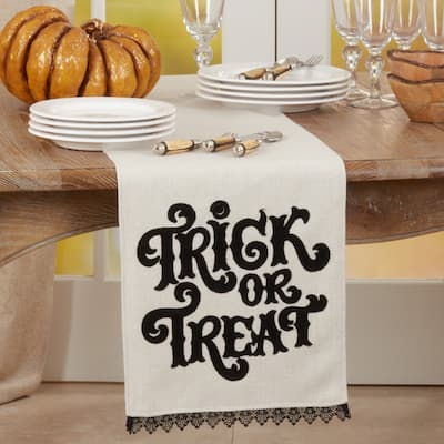 """Halloween Table Runner With Trick Or Treat Design - 14""""x72"""""""