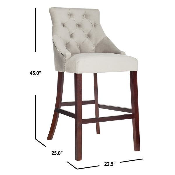 Safavieh 30 Inch Eleni Tufted Wing Back Bar Stool Grey Espresso Set Of 2 22 5 X 25 X 45 22 5 X 25 X 45 On Sale Overstock 22392713