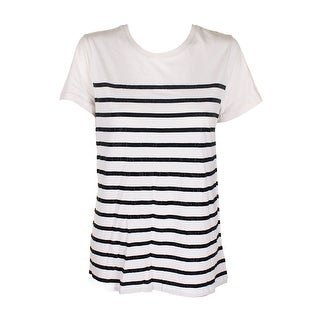 Lauren Ralph Lauren Winter Cream Black Short-Sleeve Stud-Striped T-Shirt L
