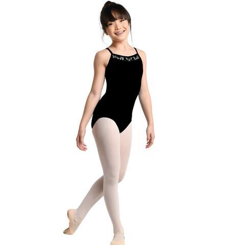 Danshuz Girls Black Classic Camisole Lace Yoke Dancewear Leotard