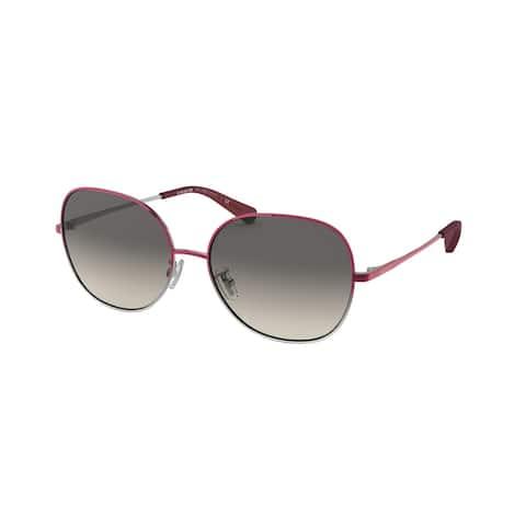 Coach HC7108 934111 57 Shiny Burgundy/shiny Silver Woman Round Sunglasses - Burgundy / Silver