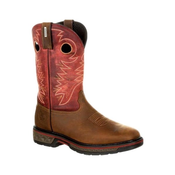 Georgia Boots Work Mens Rubber Waterproof Carbon-Tec Brown Red