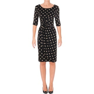 Connected Apparel Womens Cocktail Dress Polka Dot Knee-Length
