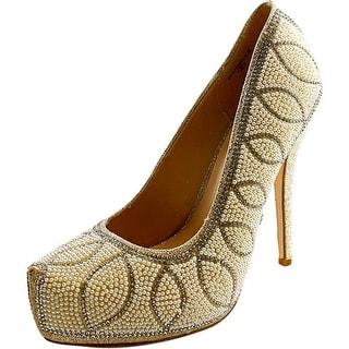 Lauren Lorraine Danielle Round Toe Canvas Heels