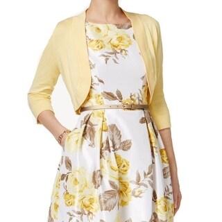 Jessica Howard Yellow Women's Size 10P Petite Bolero Sweater
