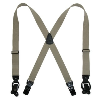 CTM® Men's Elastic Suspender with Leather Convertible Clip & Button Ends - One Size