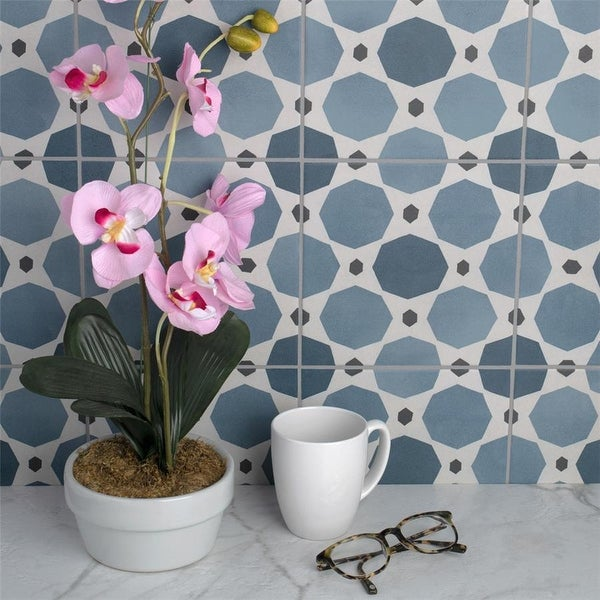 SomerTile 7.875x7.875-inch Piccola Colors Sapphire Porcelain Floor and Wall Tile (25 tiles/11.46 sqft.). Opens flyout.