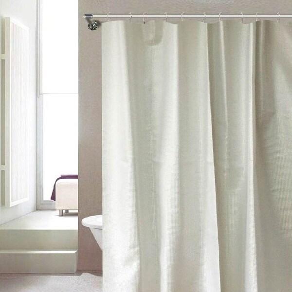 Shop Serenity Dobby Design Metallic Shimmer Shower Curtain, White ...