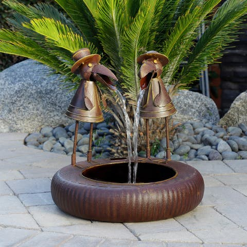 Alpine 20-Inch Metal Toucan Water Fountain Yard Art Decor, Brown