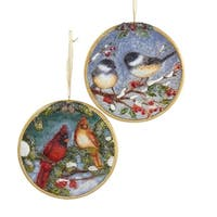 Club Pack of 12 Cardinal and Chickadee Decorative Disc Christmas Ornaments - multi