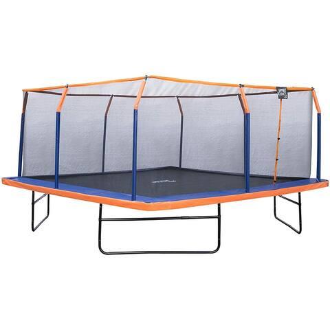 Upper Bounce 16 x 16 FT Square Trampoline Set- Orange/Blue - 16 x 16 Ft
