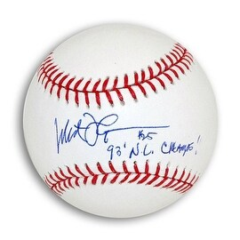 "Milt Thompson Autographed MLB Baseball Inscribed ""93 NL Champs"""