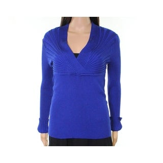 INC Royal Womens Ribbed Surplice Stretch-Knitted Sweater