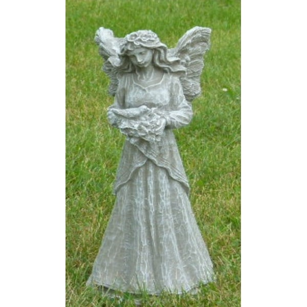 """18"""" Teal Finished Fairy Holding Dove Outdoor Statue Decoration - N/A"""