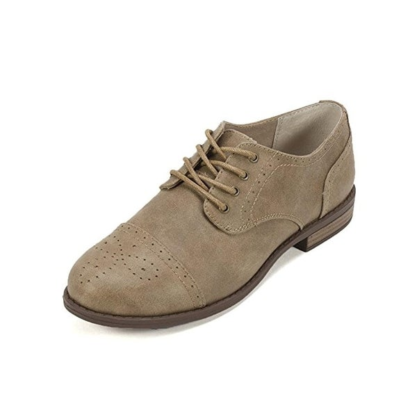 White Mountain Womens Saint Oxfords Faux Fabric Perforated