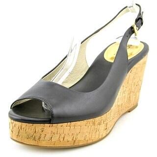 Michael Michael Kors Natalia Sling Women Open Toe Leather Black Wedge Heel