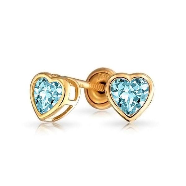 58a9ddf77 Bling Jewelry Light Blue CZ Heart Baby Safety Stud earrings 14k Gold 4mm