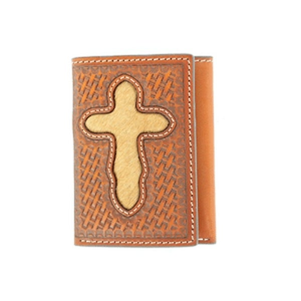 Nocona Western Wallet Mens Pro Trifold Tooled Hair Cross - One size