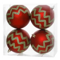 "Pack of 4 Matte Red and Lime Green Glitter Chevron Striped Christmas Ball Ornaments 4"" (100mm)"