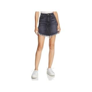 7 For All Mankind Womens Juniors Denim Skirt Mini Frayed Hem