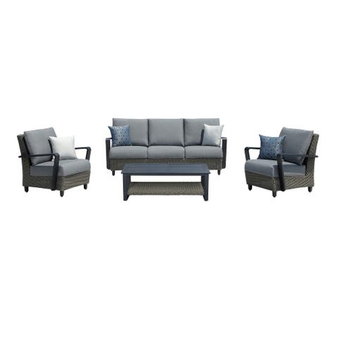 OVE Decors Augusta II 4-Piece Aluminum Frame Patio Conversation Set with Grey Sunbrella Acrylic Cushions