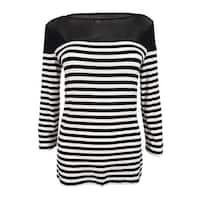 INC International Concepts Women's Striped Illusion Top (S, Deep Black) - Deep Black - s