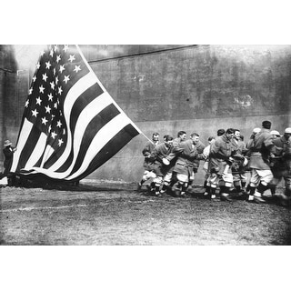 Flagged Raising American Flag on Opening Day, Ebbets Field, Baseball - Vintage Photograph (Poker Playing Cards Deck)