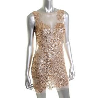 Basix Womens Mesh Embellished Cocktail Dress - 8