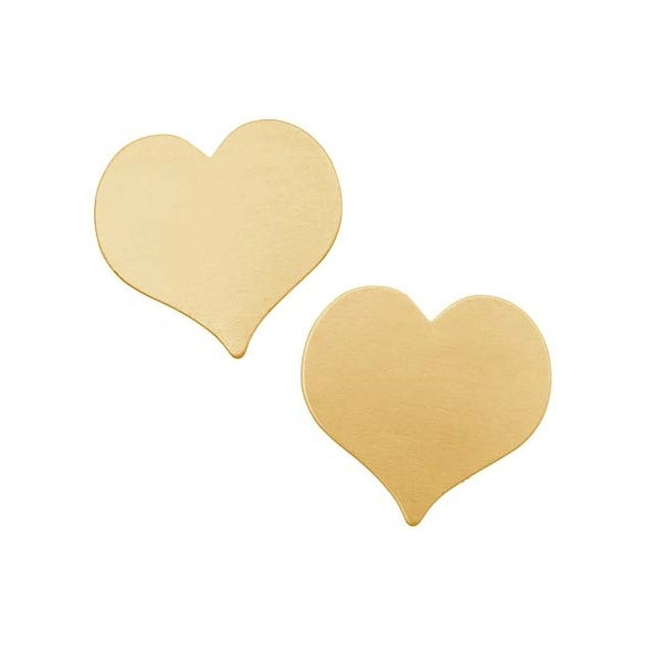 Solid Brass Heart Shaped Stamping Blanks - 21x22mm 24 Gauge (2)