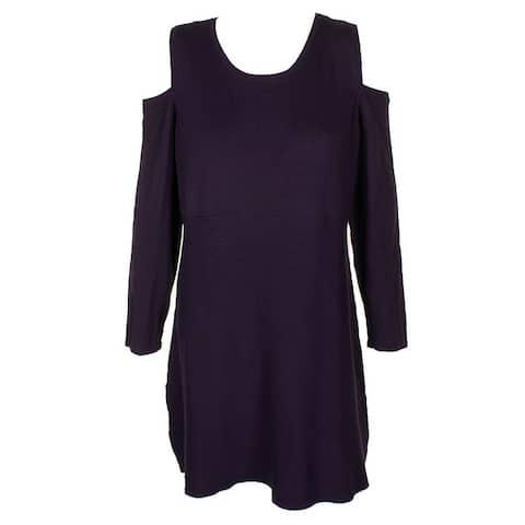 Style & Co Petite Dark Grape Cold-Shoulder Tunic Sweater PM