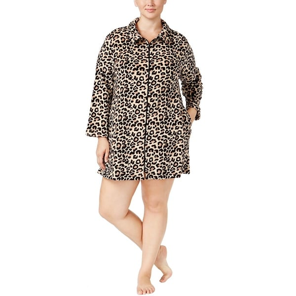 384292e25f Miss Elaine Womens Plus Size Tan and Black Leopard Zip Front Short Robe 1X