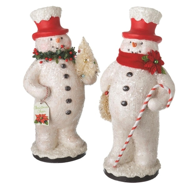 "12.25"" Cheerful Glitter Snowman with Red Top Hat Holding Christmas Tree Holiday Table Top Figure"