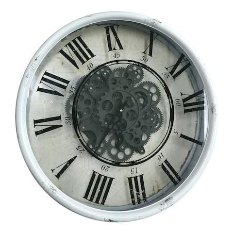 A&B Home White 20-inch Vintage Gear Wall Clock