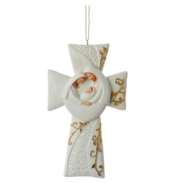 "5"" Ivory and Gold Holy Family Cross Christmas Ornament"