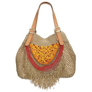 Sam Edelman Alexa Mesh Womens Beaded Crochet Hobo Handbag Natural