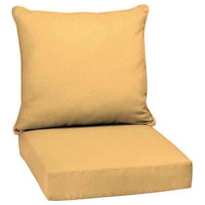 Arden Selections Shirt Texture Yellow Outdoor Deep Seat Cushion Set - 24 W x 24 D in.